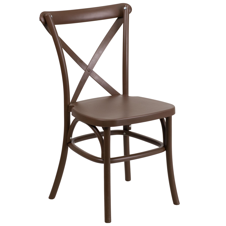 HERCULES Series Chocolate Resin Indoor Outdoor Cross Back Chair With Steel  Inner Leg