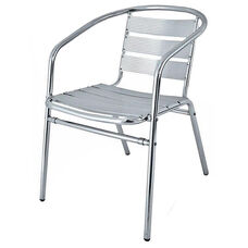 Clearwater Collection Stackable Outdoor Arm Chair with Tubular Frame
