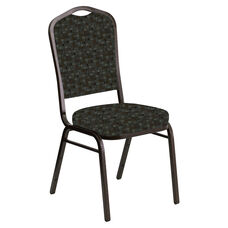 Embroidered Crown Back Banquet Chair in Empire Chocaqua Fabric - Gold Vein Frame