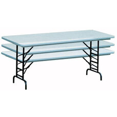 Adjustable Height Blow-Molded Plastic Top Rectangular Folding Table - 30