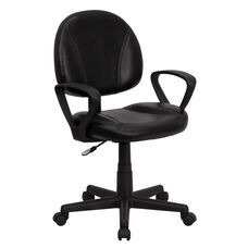 Mid-Back Black Leather Swivel Ergonomic Task Office Chair with Arms