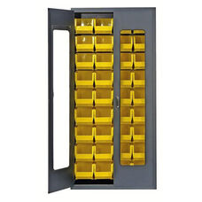 Clear-View Security Bin Cabinet with 36 Bins - Yellow
