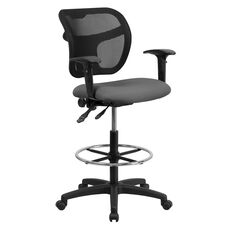 Mid-Back Gray Mesh Drafting Chair with Back Height Adjustment and Adjustable Arms