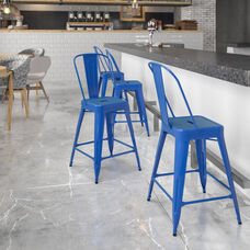 """Commercial Grade 24"""" High Blue Metal Indoor-Outdoor Counter Height Stool with Removable Back"""