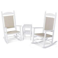 POLYWOOD® Jefferson 3-Piece Woven Rocker Set - White Frame / White Loom