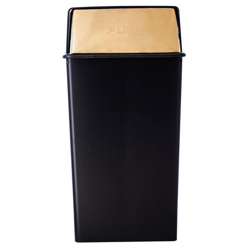 36 Gallon Stylish Pushtop Receptacle - Black with Brass Doors