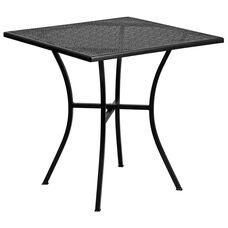"Commercial Grade 28"" Square Black Indoor-Outdoor Steel Patio Table"