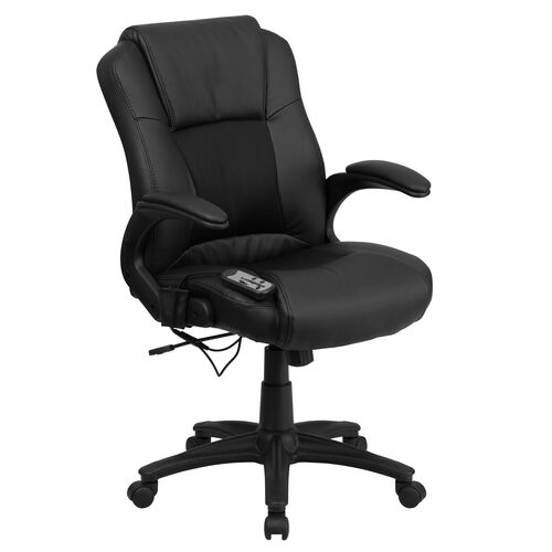 Our Ergonomic Massaging Black LeatherSoft Executive Swivel Office Chair with Arms is on sale now.