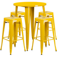 "Commercial Grade 30"" Round Yellow Metal Indoor-Outdoor Bar Table Set with 4 Square Seat Backless Stools"