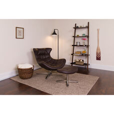 Brown Leather Cocoon Chair with Ottoman