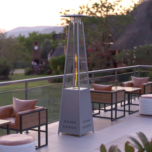Patio Outdoor Heating-Silver Stainless Steel Pyramid 42,000 BTU Propane Heater with Wheels for Commercial & Residential Use