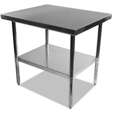 Alera® Rectangular Stainless Steel Table with Storage Shelf - 30