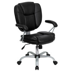 Mid-Back Black LeatherSoft Swivel Task Office Chair with Pillow Top Cushioning and Platinum Epoxy Base & Arms