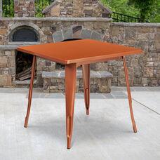 "Commercial Grade 31.5"" Square Copper Metal Indoor-Outdoor Table"