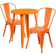 "Commercial Grade 24"" Round Orange Metal Indoor-Outdoor Table Set with 2 Cafe Chairs"