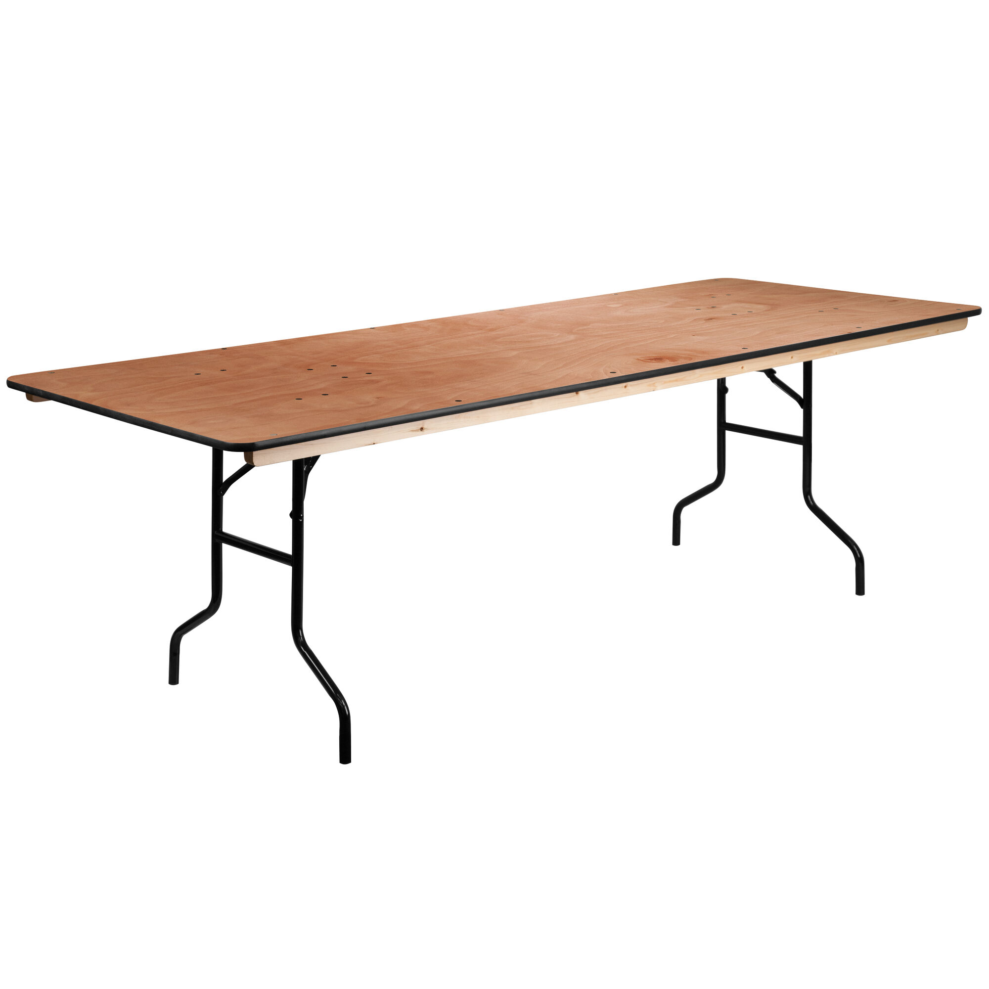 8 Foot Rectangular Wood Folding Banquet Table With Clear Coated Finished Top
