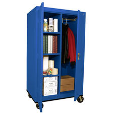 Transport Series 36'' W x 24'' D x 66'' H Mobile Combination Storage Cabinet with Sectioned Interior - Blue