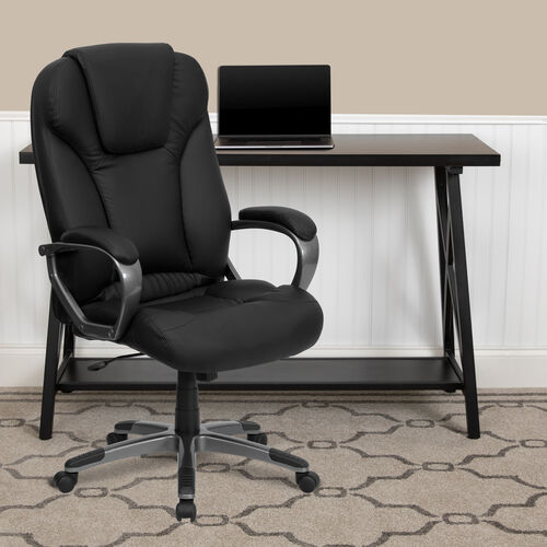 High Back Black LeatherSoft Executive Swivel Office Chair with Titanium Nylon Base and Arms