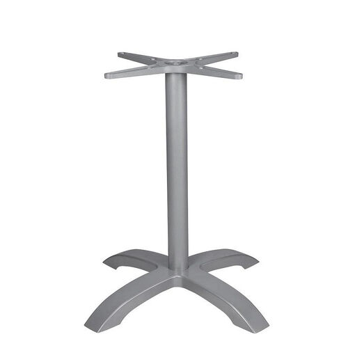 Palm 4 Powder Coated Aluminum Table Base with Arched X Shape - Anodized Silver
