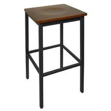 Trent Backless Black Barstool - Mahogany Wood Seat