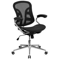 Mid-Back Transparent Black Mesh Swivel Task Office Chair with Chrome Base and Arms