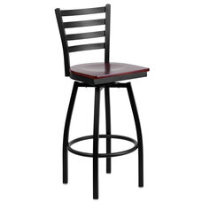 Black Metal Ladder Back Restaurant Barstool with Mahogany Wood Swivel Seat