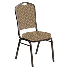 Embroidered Crown Back Banquet Chair in Scatter Acorn Fabric - Gold Vein Frame