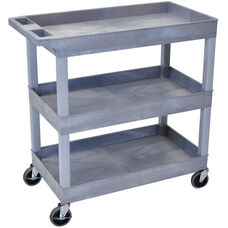 Molded Thermoplastic Resin 3 Tub Shelf Utility Cart with Tub Top Shelf and 4