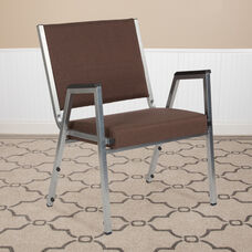 HERCULES Series 1500 lb. Rated Brown Antimicrobial Fabric Bariatric Antimicrobial Medical Reception Arm Chair