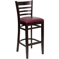 Walnut Finished Ladder Back Wooden Restaurant Barstool with Burgundy Vinyl Seat