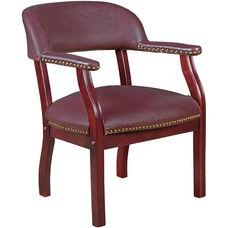 Ivy League 31''H Traditional Captains Chair - Burgundy Vinyl