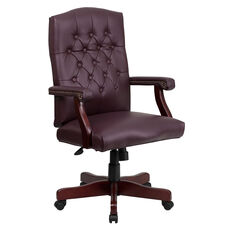 Martha Washington Burgundy Leather Executive Swivel Office Chair with Arms