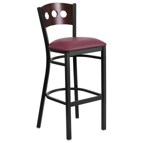Our Black Decorative 3 Circle Back Metal Restaurant Barstool with Walnut Wood Back & Burgundy Vinyl Seat is on sale now.