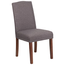 HERCULES Hampton Hill Series Gray Fabric Parsons Chair with Silver Accent Nail Trim