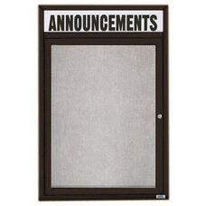 1 Door Outdoor Illuminated Enclosed Bulletin Board with Header and Black Powder Coated Aluminum Frame - 48