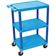 3 Shelf Structural Foam Plastic Utility Cart - Blue - 24