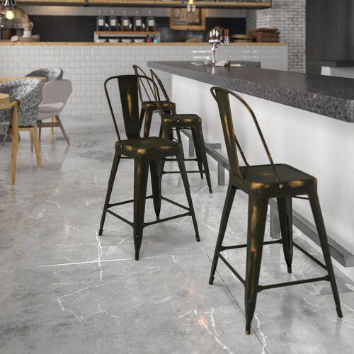 """Commercial Grade 24"""" High Distressed Copper Metal Indoor-Outdoor Counter Height Stool with Back"""