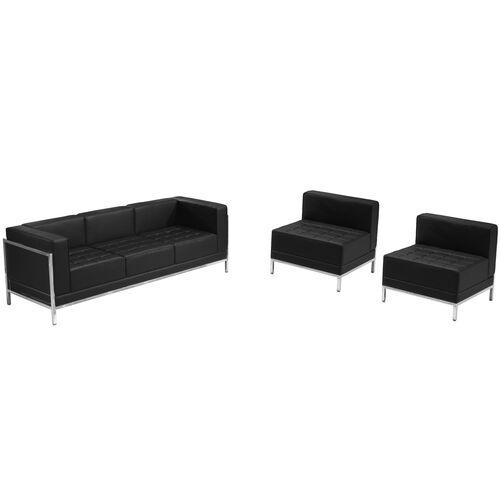 HERCULES Imagination Series Black LeatherSoft Sofa & Chair Set