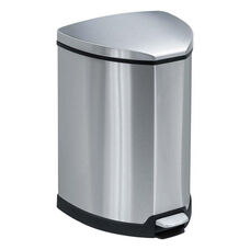 Safco® Step-On Waste Receptacle - Triangular - Stainless Steel - 4gal - Chrome/Black
