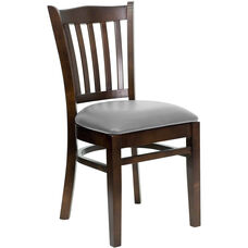 Walnut Finished Vertical Slat Back Wooden Restaurant Chair with Custom Upholstered Seat