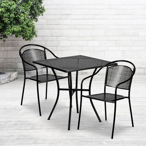 """Our Commercial Grade 28"""" Square Indoor-Outdoor Steel Patio Table Set with 2 Round Back Chairs is on sale now."""