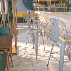 """Commercial Grade 30"""" High Silver Metal Indoor-Outdoor Barstool with Removable Back"""