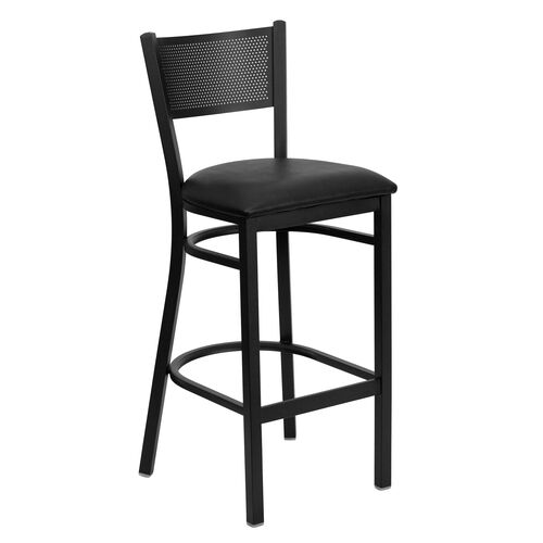 Our Black Grid Back Metal Restaurant Barstool with Black Vinyl Seat is on sale now.