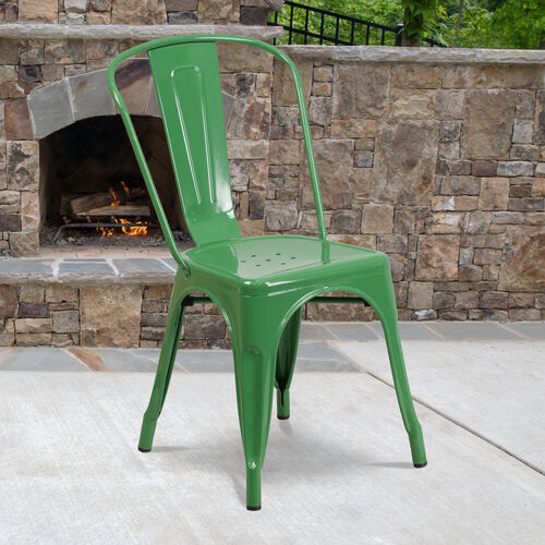Commercial Grade Green Metal Indoor-Outdoor Stackable Chair