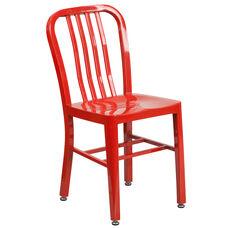 Commercial Grade Red Metal Indoor-Outdoor Chair