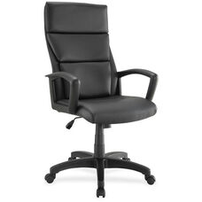 Lorell Euro Design High-Back Executive Chair - Black Leather