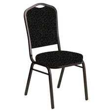 Embroidered Crown Back Banquet Chair in Jasmine Pewter Fabric - Gold Vein Frame
