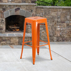 "Commercial Grade 30"" High Backless Orange Metal Indoor-Outdoor Barstool with Square Seat"