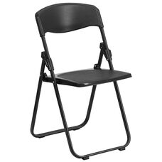 HERCULES Series 500 lb. Capacity Heavy Duty Black Plastic Folding Chair with Built-in Ganging Brackets