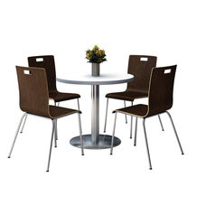 36'' Round Crisp Linen Laminate Table Set with Espresso Finish Bentwood Cafe Chairs - Seats 4